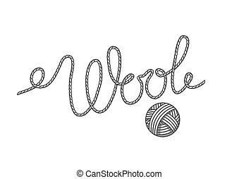 Wool emblem with with ball of yarn. Label for hand made, knitting or tailor shop