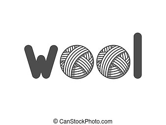Wool emblem with with balls of yarn. Label for hand made, knitting or tailor shop