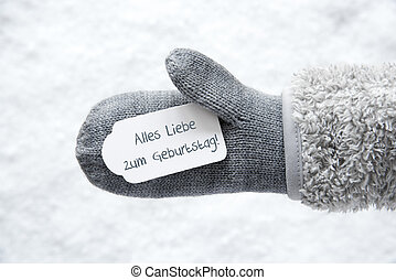 Wool Glove, Label, Snow, Geburtstag Means Birthday - Wool...