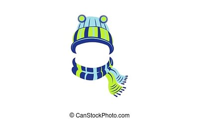 Wool hat and scarf icon animation cartoon object on white background