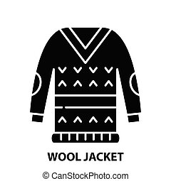 wool jacket icon, black vector sign with editable strokes, concept illustration