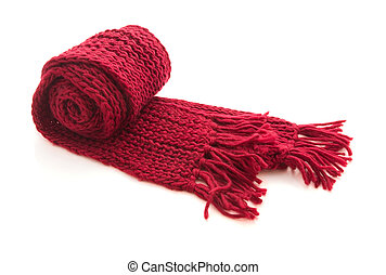 Wool knitted scarf - Red wool knitted scarf isolated on...