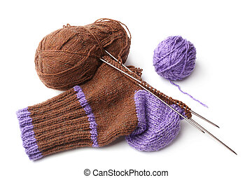 Wool knitted sock on white background