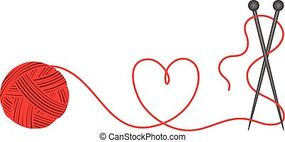 Scalable vectorial image representing a wool knitting heart shape, isolated on white.
