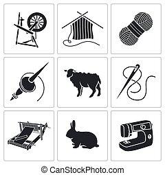 Wool, knitting Icons.