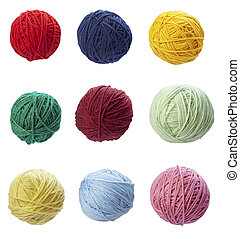 collection of wool knitting on white background. each one is in full camera resolution