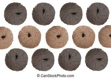 Wool knitting pattern on white background