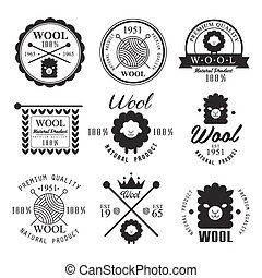 Wool labels and elements. Stickers, emblems natural wool...