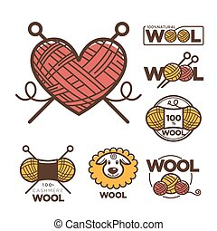 Wool labels or logo for pure 100 percent natural sheep wool textile tags.