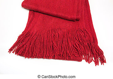 Wool red scarf with fringe on a white background
