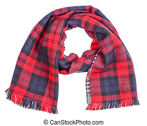 Wool red tartan plaid scarf isolated