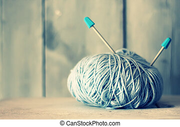Wool - Retro photo of blue ball of wool