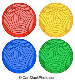 Wool skein icons - Illustration of the skein balls set