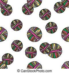WOOL TUBE Knitting Cartoon Seamless Pattern Illustration