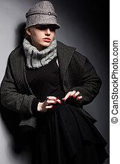 woolen, évszaki, nő, sapka, -, gyűjtés, zakó, divatba jövő, ...