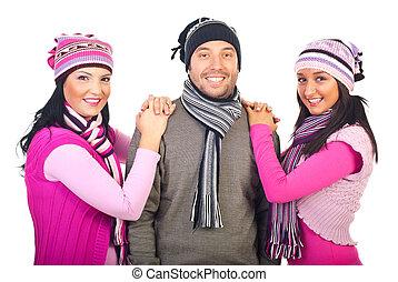 woolen, alegre, amigos, scarves, bonés