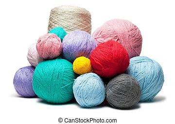 woolen, bolas, coloridos, sobre, isolado, fios, branca