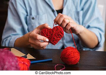 woolen, coração, criando, vermelho