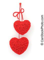 woolen, corações, vermelho