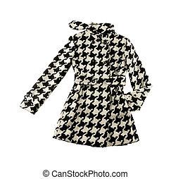 woolen, cute, agasalho, houndstooth, pretas, branca, cheque