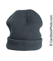 Woolen hat - Woolen green hat on a white background