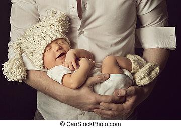 woolen, menino, mão, pai, dormir, bebê recém-nascido, rir, ...