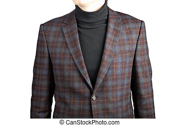 woolen mens suit jacket into cell   in combination with jeans