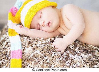 woolen, quadro, boné, bebê, dormir