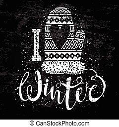 woolen, sazonal, conceito, Amor, Inverno, texto, Coração, tricotado, desenho, etiqueta,  shopping, bandeira, ou,  Mitten
