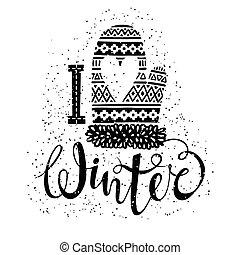 woolen, sazonal, conceito, Amor, Inverno, texto, Coração, isolado, tricotado,  Mitten, vetorial, desenho, etiqueta,  shopping, bandeira, ou, Ilustração