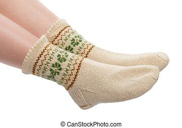 woolen socks - woman's legs in warm woolen socks isolated on...