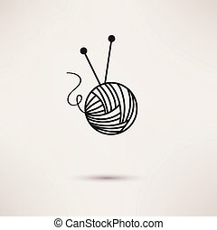 Woolen thread and needles, flat design vector.
