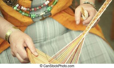 Woolen yarn handicraft close-up shot