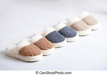 woollen, naturel, pantoufles
