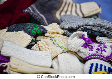 Woollen sox in the famous handicraft mart Kaziukas inVilnius, Lithuania
