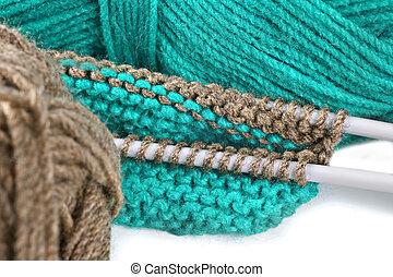 Woollen thread and knitting needle. Needlework accessories...