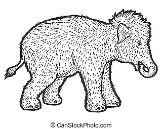 Woolly mammoth child. Sketch scratch board imitation. Black and white. Engraving vector illustration.