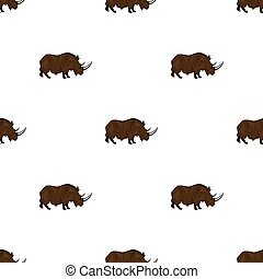 Woolly rhinoceros icon in cartoon style isolated on white background. Stone age symbol stock bitmap, raster illustration.