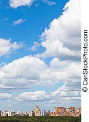 woolpack, urbano, sobre, nuvens, distrito