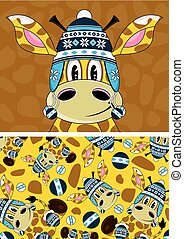Wooly Hat Giraffe - Cute Cartoon Giraffe in Wooly Hat...