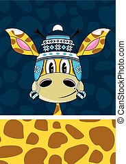 Wooly Hat Giraffe - Cute Cartoon Giraffe in Wooly Hat Vector...