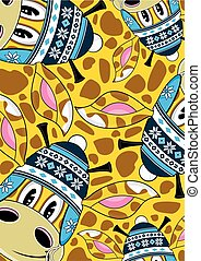 Wooly Hat Giraffe Pattern - Cute Cartoon Giraffe in Wooly...