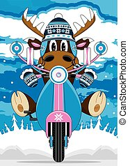 Wooly Hat Reindeer and Scooter - Cute Cartoon Wooly Hat...