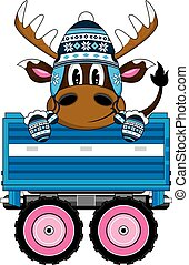 Wooly Hat Reindeer in Trailer - Cute Cartoon Wooly Hat...