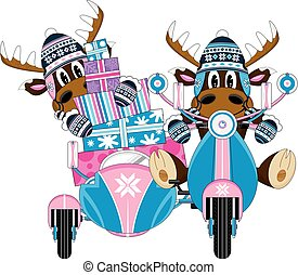 Wooly Hat Reindeers and Scooter - Cute Cartoon Wooly Hat...