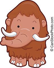wooly, mamute, vista dianteira