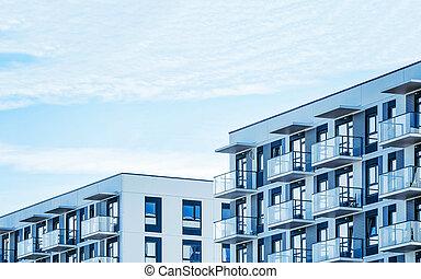 woongebied, gebouw, moderne, flat, detail, buitenkant, plat