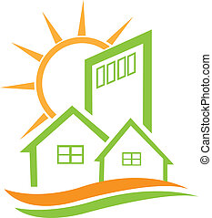 woongebied, groen huis, en, zon