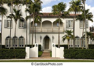 woongebied, huis binnen, westelijk palm strand
