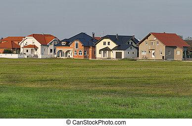 woongebied, moderne, kroatië, huisen, typisch
